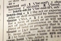 Uczyć się uczy się uczonego umiejętność słownika zdjęcie stock