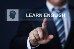 Uczy się angielskiej Online edukaci wiedzy technologii Biznesowego Internetowego pojęcie obraz stock
