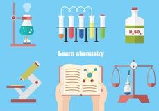 Uczy się chemię z konceptualną ilustracją Ilustracja Wektor