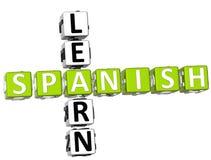 Uczy się Hiszpańskiego Crossword Fotografia Royalty Free