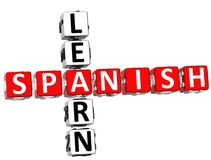 Uczy się Hiszpańskiego Crossword Zdjęcia Royalty Free