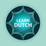 Uczy się Holenderskiego magicznego szklistego sunburst błękitnego guzika nieba błękita tło ilustracji