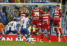UD Almeria players on the wall of the free kick. Launched by Sergio Garica of RCD Espanyol during a Spanish League match at the Estadi Cornella on April 27 Stock Photography