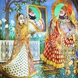 Udaipur宫殿的装饰的片段。 免版税库存图片