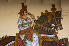 Udaipur дворца города настенной живописи Стоковое Изображение