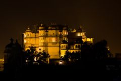 Udaipur City palace at night Stock Photography