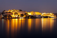 Udaipur City Palace at night. Rajasthan, India Stock Images