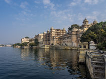 Udaipur City Palace. View of Udaipur City Palace from Lake Pichola Stock Photo