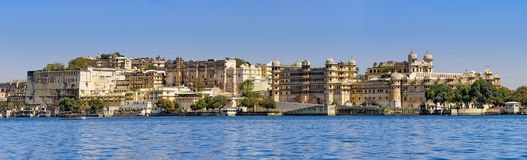 Udaipur city rajasthan, india. Panorama view of Udaipur`s city palace from the lake Stock Photography