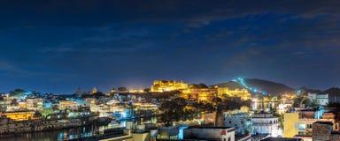 Udaipur, evening widok miasta i miasto pałac kompleks Udaip Fotografia Stock