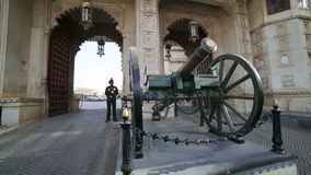 UDAIPUR, INDIA - APRIL, 2013: Honour guard at City Palace stock video