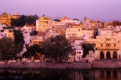 Udaipur, India: View of the ghats and parts of the old town stock photography
