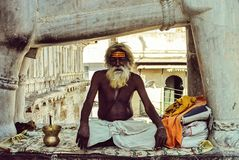 Old sadhu sitting in the lotus position in one of the temples of Udaipur stock photo