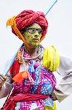 Udaipur Indien, september 14, 2010: En hijra för ståendeod-indier Arkivbild