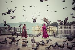 UDAIPUR INDIEN - SEPTEMBER 15, 2017: Sjö Pichola med staden Pala Royaltyfri Fotografi