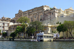 Udaipur and Lake Pichola, Rajasthan, India. City Palace, Udaipur, is a palace complex in Udaipur, in the Indian state Rajasthan. It was built over a period of royalty free stock image