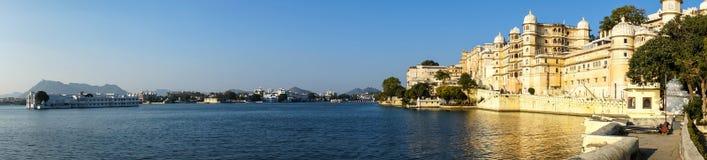 Udaipur Lake Pichola. Udaipur view of city palace and taj lake palace hotel stock photos