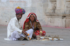 Udaipur Musicians. Street musicians at the gate of the old city and fort of Udaipur in Rajasthan, North-West India Stock Photos