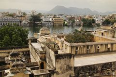 Udaipur, north India. VIew of Pichola lake from the roof of a building in Udaipur in north India, Rajasthan stock photography