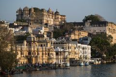Udaipur Pichola lake and palace view in Rajastan, India stock photos