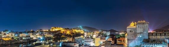 Udaipur przy nocą Udaipur, Rajasthan, India Obraz Royalty Free