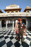 UDAIPUR, RAJASTHAN, INDIA - APRIL, 2013: Female tourist, City Palace Royalty Free Stock Photos
