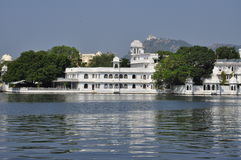 Udaipur, Rajasthan, India. Luxury hotel on the waterfront royalty free stock photography