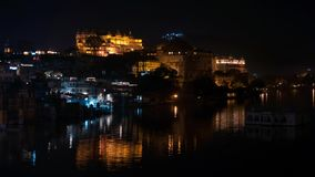 Udaipur Rajasthan India. Time lapse by night  from above. Travel destination and tourism landmarks. Udaipur Rajasthan India. Time lapse by night  from above stock footage