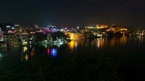 Udaipur Rajasthan India. Time lapse by night  from above. Travel destination and tourism landmarks. Udaipur Rajasthan India. Time lapse by night  from above stock video