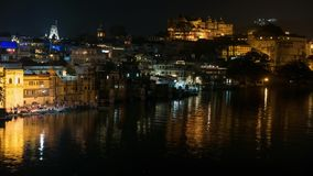 Udaipur Rajasthan India. Time lapse by night  from above. Travel destination and tourism landmarks. Udaipur Rajasthan India. Time lapse by night  from above stock video footage