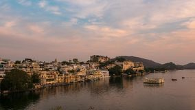 Udaipur Rajasthan India. Time lapse at sunset from above. Travel destination and tourism landmarks stock video