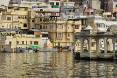 Udaipur, Rajasthan, India. View of the old city waterfront Royalty Free Stock Photography