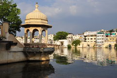 Udaipur, Rajasthan, India. View of the old city waterfront Stock Photos