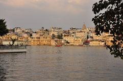 Udaipur, Rajasthan, India. View of the old city waterfront Royalty Free Stock Photos