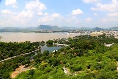 Udaipur Seestadt ariel Ansicht Stockfotos
