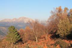 Udalaitz mendia, Aramaio, Basque Country. View of Aramaio with Mount Udalaitz in the background, from Krutzeta, in autumn; Araba, Basque Country Stock Photography