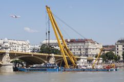 Udapest, Hungary – June 11, 2019; Panorama picture of the Hableany tour boat after raising successfully to the surface. Budapest, Hungary – June 11 royalty free stock image