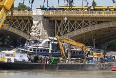 Udapest, Hungary – June 11, 2019; Raising action to the surface of the sunken Hableany tour ship. Budapest, Hungary – June 11, 2019; Raising action stock photo