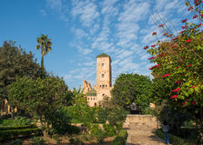 Udayas kasbah的安达卢西亚的庭院 拉巴特 摩洛哥 库存图片