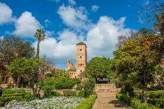 Udayas kasbah的拉巴特摩洛哥北非安达卢西亚的庭院 库存照片