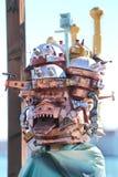 Udda maskering med byggnader på karnevalet av Venedig Royaltyfri Bild