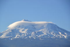 Udda moln för Mt Shasta Arkivfoto