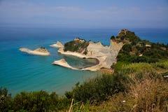 Udde Drastis på Korfu Grekland arkivfoto