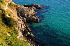Udde Fiolent i Krim Black Sea härligt daglandskap royaltyfria foton