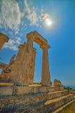 Udde Sounion Platsen av fördärvar av en gammalgrekiskatempel av Poseidon, guden av havet i klassisk mytologi Royaltyfri Fotografi