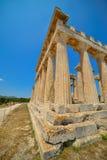 Udde Sounion Platsen av fördärvar av en gammalgrekiskatempel av Poseidon, guden av havet i klassisk mytologi arkivfoton