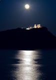 Udde Sounion, Poseidon tempel, Attica, Grekland, månsken arkivfoto