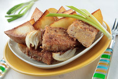 Udder of cow, fried in breadcrumbs with potatoes. On plate Royalty Free Stock Photos