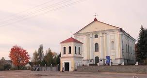 Udelo, περιοχή του Βιτσέμπσκ, της Λευκορωσίας Καθολική εκκλησία της αμόλυντης σύλληψης της ευλογημένης Virgin Mary στην ημέρα φθι απόθεμα βίντεο