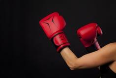 Uderzający pięścią z czerwoną bokserską rękawiczką, walki pojęcie Obraz Royalty Free